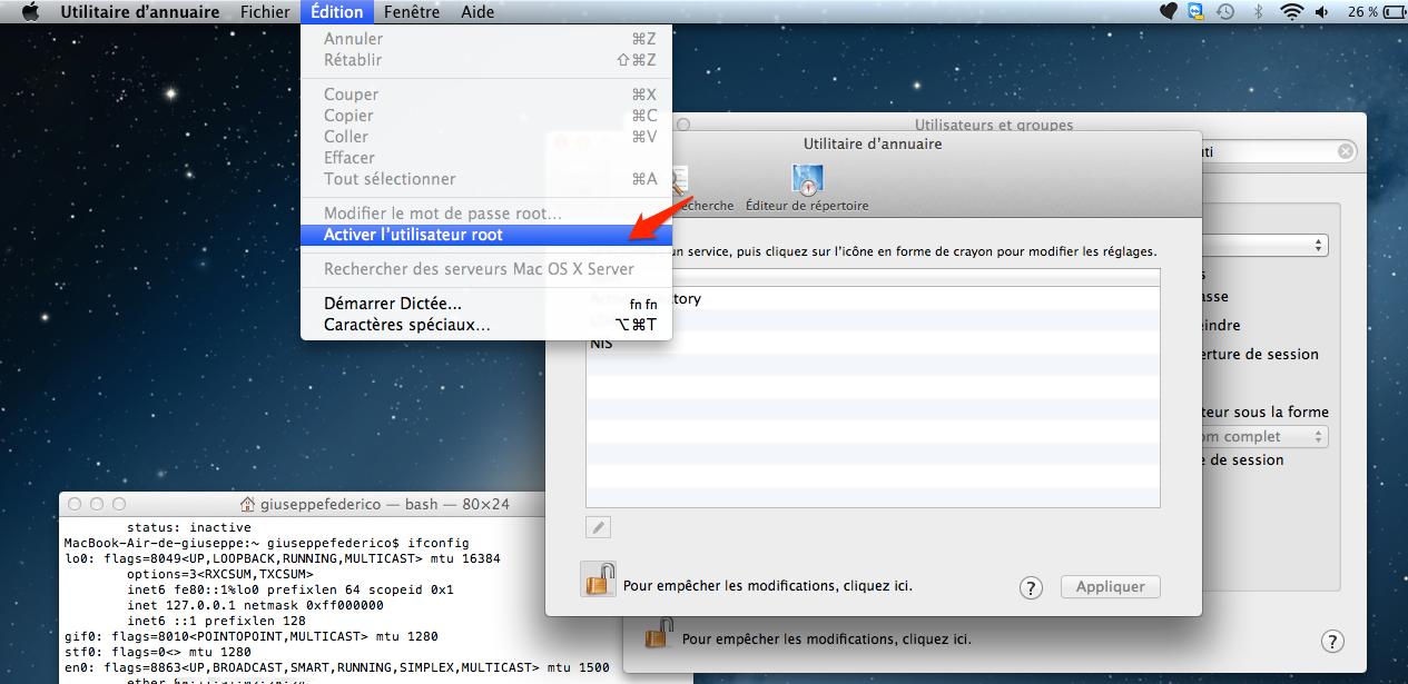 activer root l'utilsateur root sur mac os 7