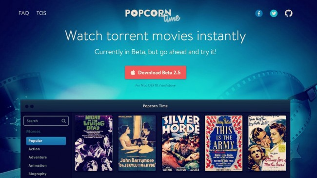 Popcorn Time, Regardez-vos séries et films en Streaming.