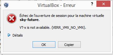 Erreur: VT-x is not available. (VERR_VMX_NO_VMX)